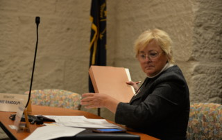 Karen Tallian sorting notes in committee meeting
