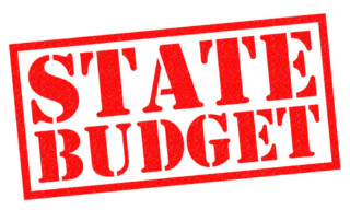 state budget in bold red text